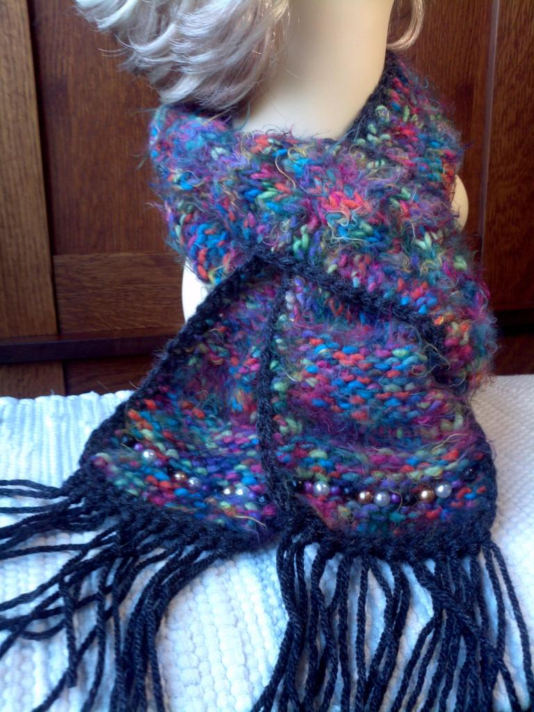 Hand-Knit Scarf Multi Jewel Tones with Beads and Fringe