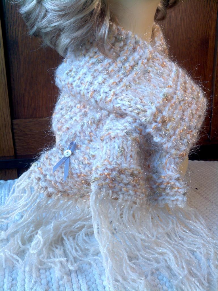 Hand-Knit Scarf White & Gold Shimmer with Cream sparkle fringe