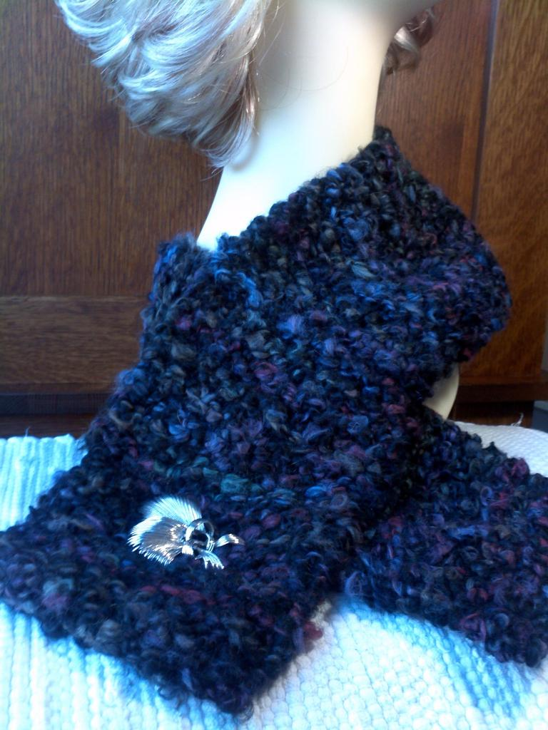 Hand-Knit Scarf Black-Multi Thick 'n Fluffy acrylic boucle