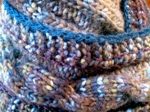 Knit Scarf Cable Moss Green, Brown, Light Blue acrylic yarn with Crochet in cotton and wool